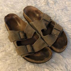 Birkenstock Arizona sandals brown suede slip on